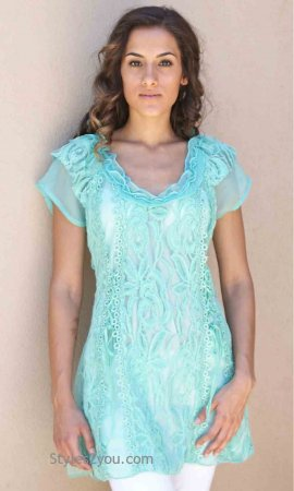 American Vintage Lace Blouse Short Sleeve In Aqua