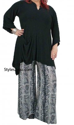 Flared Dress Pants In Black, White & Gray  Cover Charge Clothing