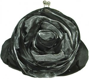 Vintage Victorian Garden Flower Clutch Handbag In Black