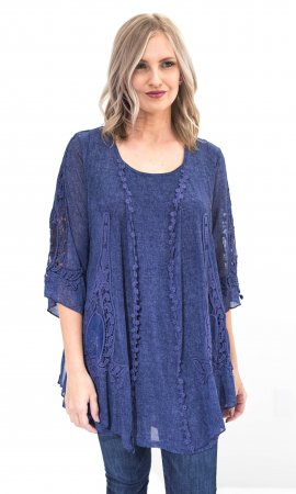 Zahar Ladies Layered Tunic With Crochet Insets In Blue
