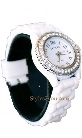 Geneva Silicone Big Face Rhinestone Watch In White