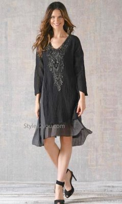 Bernice Bohemian Layered Crochet Tunic Dress In Black & Gray
