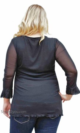Renaissances Ladies Lace Up Top PLUS SIZE In Black
