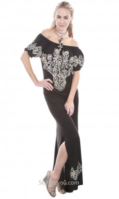 Cheney Short Sleeve On Or Off The Shoulder Maxi Dress Scully