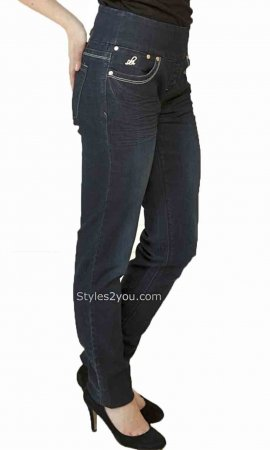 Lola Anna Skinny Pull On Denim Jeans Stone Blue PLUS SIZE