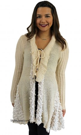 Frances Retro Victorian Ruffle Cardigan In Ivory Sacred Threads