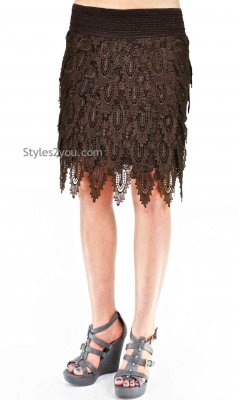 Brady Elastic Waist Layered Crochet Lace Skirt In Coffee