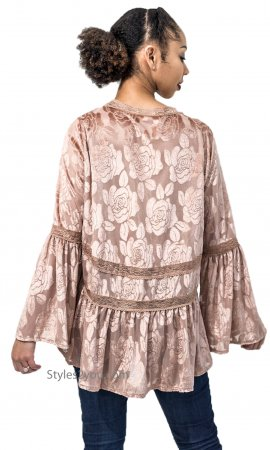 Hannah Babydoll Velvet Burnout Top With Bell Sleeves Canyon Rose