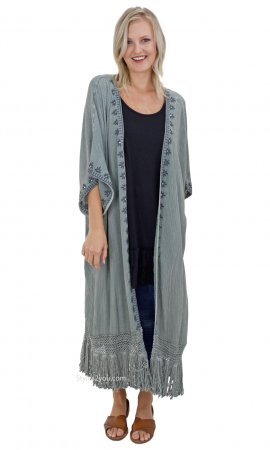 Athens Oversized Embroidered Fringe Trim Duster In Washed Olive