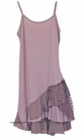 Colette Ladies Bohemian Retro Two Piece Knit Shirt Dress Mauve