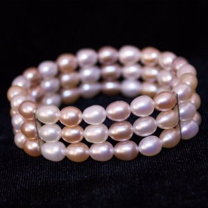 "7"" Stretch Pearl Bracelet Three Rows Pastel Colored Pearls"