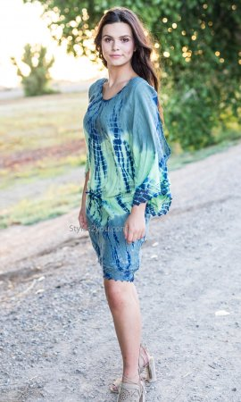 Peaceful Shirt Dress In Blues And Greens Sacred Threads Clothing