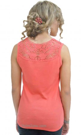 Zoey Vintage Reproduction Ribbed Tank With Crochet Yoke In Coral