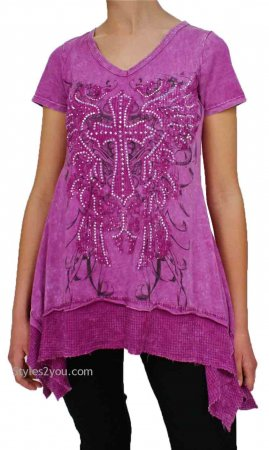 Grace Me Vocal Tunic With Rhinestone Cross In Magenta