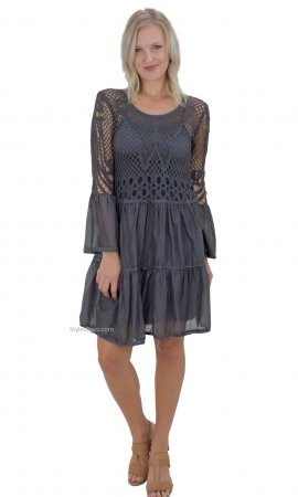 Courtney Bohemian Crochet Shirt Dress In Gray Monoreno Dress