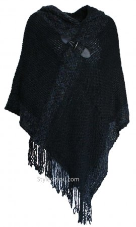 Corbin Soft Sweater Knit Poncho With Hoody In Black