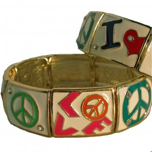Love and Peace Bracelet With Rhinestones In White