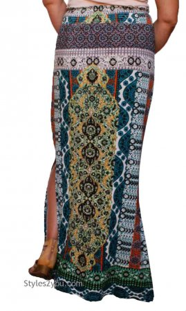 Alpa Ladies Hippy Bohemian Maxi Skirt Teal Forbidden By Bila