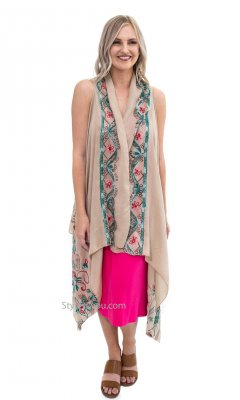 Steffanie Embroidered Sleeveless Cardigan Scarf Shawl Carmel