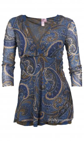 Paisley Dressy Travel Blouse In Blues & Browns Sweet Pea Blouse