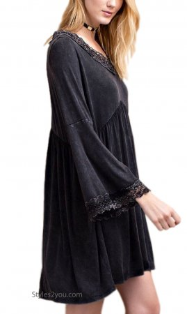 Hale Babydoll Knit Shirt Dress In Mineral Wash Black Easel Tunic
