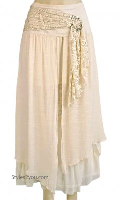 Alabama Ladies Vintage Victorian, Western Belted Skirt Carmel