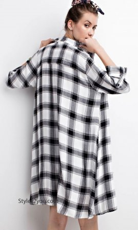 Abree Oversized Button Down Paid Shirt Dress Duster Cardigan WT