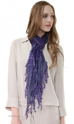 Anastasia Victorian Lace Scarf In Purple