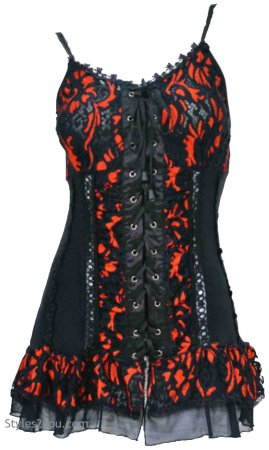 Archer Gypsy Boho Victorian Lace Up Camisole Top Black & Orange