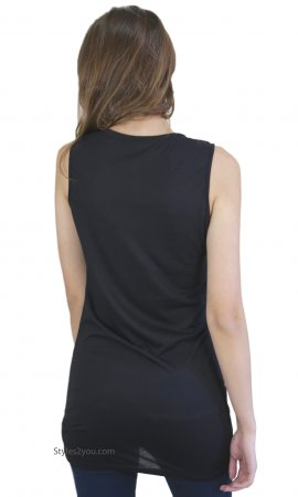 Yankton T Shirt Dress Slip Top Extender Black Monoreno Clothing