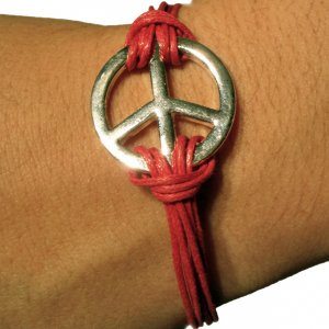 Silver and Pink Peace Bracelet For Women