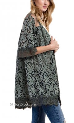 Mink Embroidered Oversized Lace Open Cardigan In Greens Easel