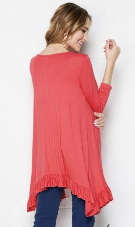 Sue PLUS SIZE Bohemian Ruffle Hem Blouse In Coral