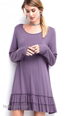 Celian PLUS SIZE Double Ruffle Tunic OR Extender Purple Taupe