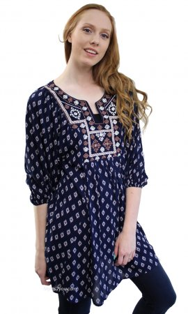 Emory Cross Stitched Hippy Bohemian Shirt Dress Navy Nostalgia