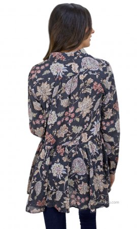 Roseanne Cotton Floral Print Button Up Blouse Charcoal Easel Top