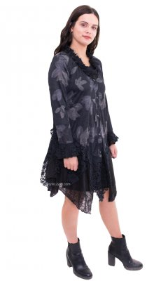 Kendal Long Sleeve Button Up Cardigan With Lace Trim In Black