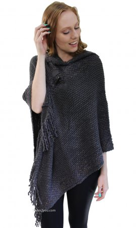 Corbin Soft Sweater Knit Poncho With Hoody In Dark Gray