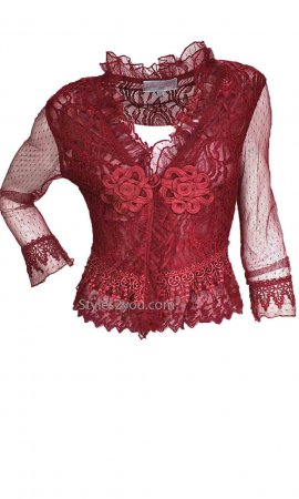 Flamingo Ladies All Over Lace Bolero With Sheer Sleeves Burgundy