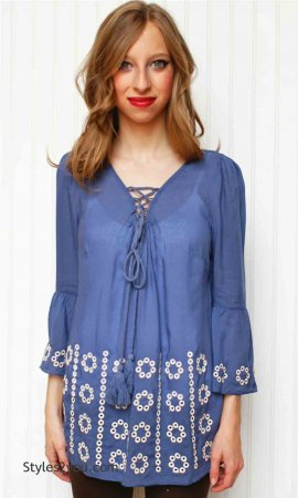 Lola Boho Hippy Bohemian Peasant Top In Blue