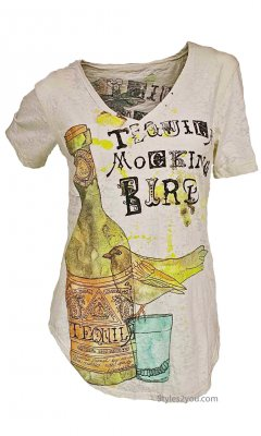 Tequila Mockingbird Burnout T Shirt In White