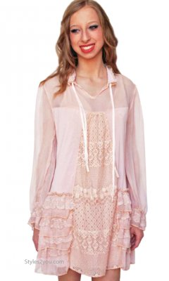 Bailee Vintage Victorian Dress Tunic Peach Pretty Angel Tunics