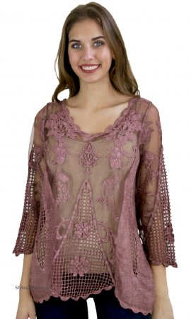Keely Victorian 3/4 Sleeve Crochet & Lace Overshirt Mauve