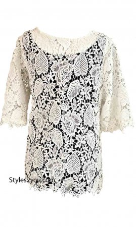 Lada Vintage All Crochet Lace Over Blouse In Off White