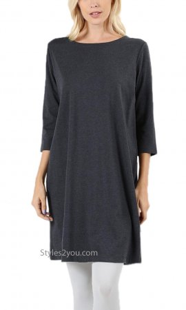 Brady Ladies 3/4 Sleeve Cotton Tunic Dress In Charcoal