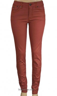Celina Five Pocket Skinny Jeans In Salmon