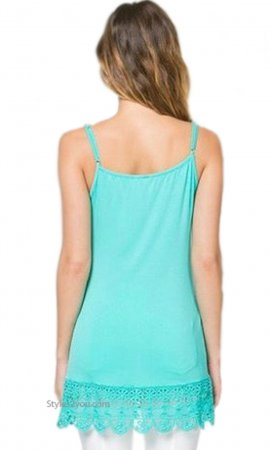 Kizzy Shirt Extender Dress Cami Crochet Hemline Mint Monoreno