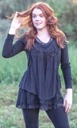 Madonna Layered Victorian Vintage Blouse Black Pretty Angel Top
