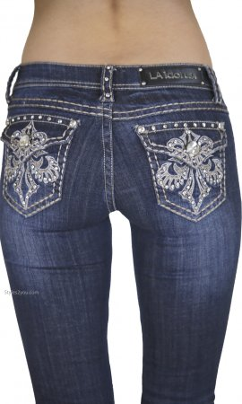 Ladies Rhinestone Embroidered Bootcut Denim Jeans LA Idol Jeans