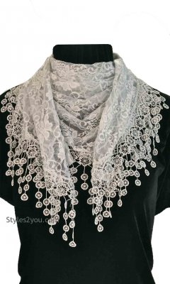 Scandal Clothing Ladies Victor Vintage Lace Scarf Wrap Lt Gray